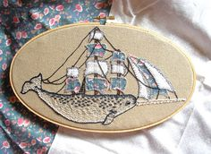 the mighty narwhal! #embroidery #nautical
