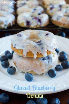 Best Ever Glazed Blueberry Cake Donuts
