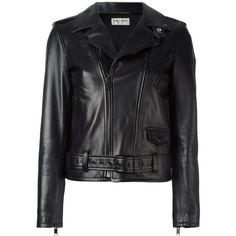 Saint Laurent signature motorcycle jacket (16,165 PEN) ❤ liked on Polyvore featuring outerwear, jackets, black, biker jackets, straight jacket, collar jacket, long sleeve jacket and yves saint laurent jacket