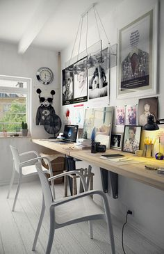 Best Two Person Desk Design Ideas for Your Home Office Workspace Home Design Diy, Home Office Design, House Design, Interior Design, Studio Design, Office Designs, Interior Modern, Garden Design, Studio Studio