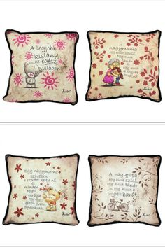 www.pinkbagoly.hu Throw Pillows, Vintage, Toss Pillows, Decorative Pillows, Decor Pillows, Vintage Comics, Scatter Cushions, Primitive