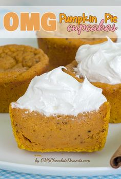 Pumpkin Pie Cupcakes Recipe ~ Individual portions of traditional pumpkin pie with great combination of texture and yummy pumpkin and spice flavor.