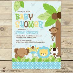 Stockberry estudio Safari animales Baby Shower jungla animales tema invitación invitación es lindo y caprichoso! El pequeño mono en el árbol está divirtiendo con sus amigos jirafa y el León, mientras que la cebra y el elefante verlos jugar. ¡Esta invitación será perfecta para un bebé