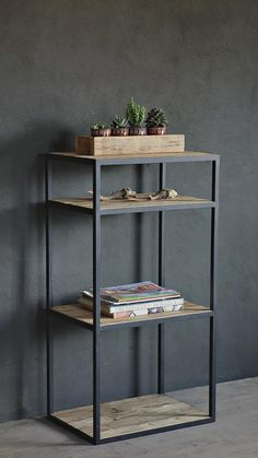 Industrial Reclaimed Barn Wood shelving unit - Trend Old Furniture 2019 Wood And Metal Shelves, Reclaimed Wood Bookcase, Wood Shelving Units, Reclaimed Barn Wood, Old Wood, Steel Furniture, Industrial Furniture, Refurbished Furniture, House Furniture