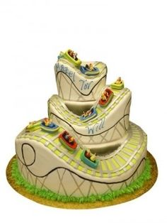 Roller Coaster Cake -- I LOVE this! This would work for a dr Seuss cake too… Fancy Cakes, Cute Cakes, Pretty Cakes, Beautiful Cakes, Amazing Cakes, Unique Cakes, Creative Cakes, Roller Coaster Cake, Fondant Cakes
