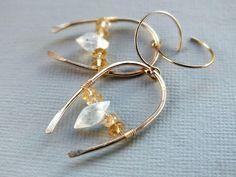 Gold moonstone earrings, gold citrine earrings, wire wrapped gemstone earrings, dangle, sparkly, 14k filled gold, horseshoebeadwork,