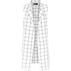 White Check Sleeveless Coat (740 PHP) ❤ liked on Polyvore featuring outerwear, coats, jackets, vests, blazers, white pattern, print coat, open front blazer, white blazer jacket and checkered coat