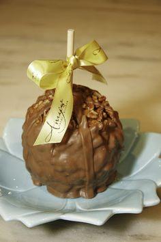 A Pecan Turtle with Belgian Milk Chocolate Caramel Apple