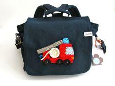 """Kindergartenrucksack """" Feuerwehr"""" navyblau von fadenfroh.design auf DaWanda.com"""