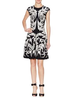 Silk Intarsia Fit and Flare Dress by Alexander McQueen at Gilt