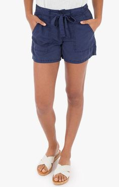 Rag Poets Shorts - high waisted shorts with zipper and button. Cute tie gives it a fun look. High Waisted Shorts, Casual Shorts, Linen Shorts, Skirt Pants, Spring Summer 2018, Boutique Clothing, New Fashion, Zipper, Stylish