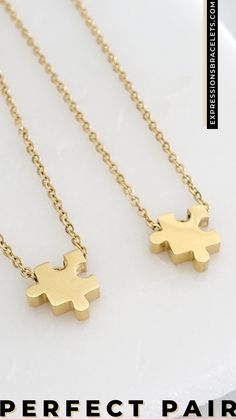 The puzzle piece is symbolic of a special connection, a piece that has made you whole. The ideal gift for you and your special person, mom, sister, bestie, soulmate, spouse. Made of stainless steel metal which is non tarnish and hypoallergenic. Great gift ideas for wedding gifts and couples. #weddinggifts Dainty Necklace, Necklace Set, Gold Necklace, Gifts For Friends, Gifts For Her, Mixed Metal Jewelry, Personalized Gifts For Mom, Grad Gifts, Steel Metal