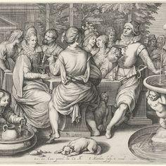 De verloren zoon zijn geld verkwistend, Jacob Matham, after Pieter Cornelisz. van Rijck, 1601 - 1606 - Rijksmuseum