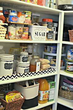 """On the top shelf:  A Paper Tray or File Organizer to give you an extra """"shelf"""" between widely spaced shelves.                            Fancy Frugal Life Tips for Organized Pantry"""