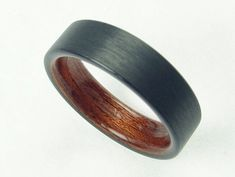 Carbon Fiber and African Rosewood, Mens Carbon Fiber Wedding Band, Unique Wedding Ring, Comfort Fit, Bentwood Ring - The African Rose Ring