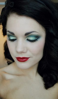 Check out this rockabilly makeup! Good to know I'm not the only one rocking red lips and teal eyes!