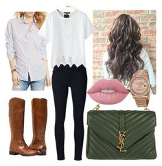 """""""Untitled #232"""" by emmasorrell on Polyvore featuring Denim & Supply by Ralph Lauren, Frame Denim, Yves Saint Laurent, Lime Crime, Rolex and Madewell"""