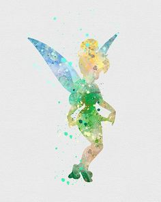 Tinkerbell 2 watercolor art print art suluboya, animasyon, t Disney Pixar, Disney Cars, Disney Animation, Disney And Dreamworks, Disney Kunst, Arte Disney, Disney Magic, Watercolor Disney, Watercolor Art