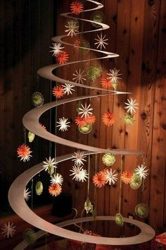 Get big square piece (cut into circle) of thin hardboard & leave plain or paint. Cut a spiral. Put a tree topper & hook on top & put a hook in studs of ceiling. Then hang from ceiling each year. Attach little loops of string w/ staple gun to hang ornaments. Maybe clothespins. Could hang ribbon etc/anything. Fav idea so far