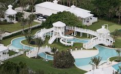 Luxury Celine Dion Water Park with Natural Landscaping Celine Dion, Celebrity Mansions, Celebrity Houses, Florida Mansion, Florida Home, South Florida, Swimming Pool Photos, Swimming Pools, H & M Home