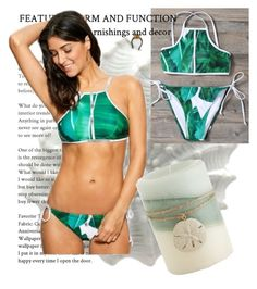 """""""🎁Palm Leaf Print High Neck Bikini Outfit🎁"""" by puddingis ❤ liked on Polyvore featuring interior, interiors, interior design, home, home decor, interior decorating and Pier 1 Imports"""