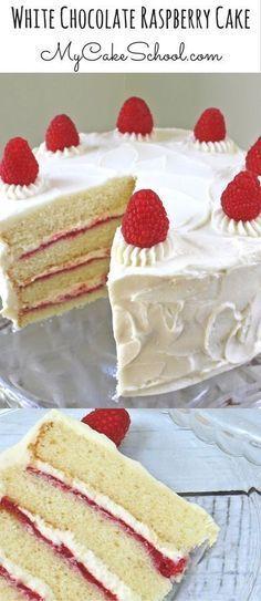 AMAZING White Chocolate Raspberry Cake Recipe by MyCakeSchool.com! White Chocolate Cake Layers with White Chocolate Buttercream Frosting and white chocolate & raspberry filling! #MyCakeSchool #WhiteChocolateRaspberryCake #CakeRecipes
