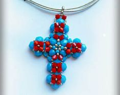 Beading tutorial.Pattern.Tutorial.Exclusive.PDF file containing instructions for making the Crystal Cross Pendant, not the pendant itself. by emeliebeads. Explore more products on http://emeliebeads.etsy.com