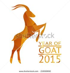 Chinese New Year 2015, goat with golden geometric pattern - stock vector
