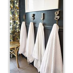 My most pinned image of my #oneroomchallenge #boysbathroom is of the towel hooks.  Isn't that funny? They are still available at @anthropologie if you're looking!  We love them. #formy70sranch