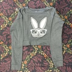 Aeropostale cropped bunny sweatshirt Adorable sweatshirt! Perfect for the gym or even to pair with a high waisted skater skirt! EUC. Make me an offer :) Aeropostale Tops Sweatshirts & Hoodies