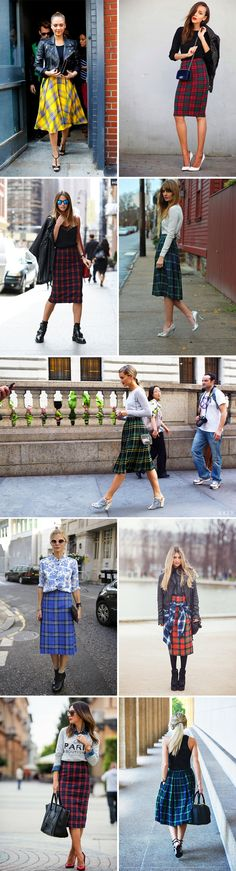 Plaid midi skirts street style