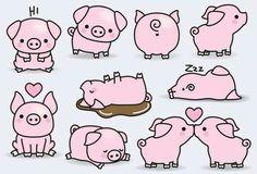 Cute/Sweet Animals Pig. [Drawing]