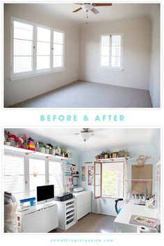 Craft room organization: Craft Room + Blog Office, Before and After