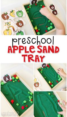 This apple sand tray is fun for letter writing and fine motor practice with an apple theme. Great for tot school, preschool, or even kindergarten!