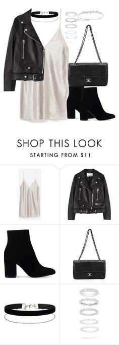 """Untitled #2690"" by theeuropeancloset on Polyvore featuring Zara, Acne Studios, Gianvito Rossi, Chanel, Miss Selfridge, Belk Silverworks and Swarovski"