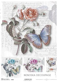 GBP - Rice Paper For Decoupage, Scrapbook Sheet, Craft Rose And Butterfly & Garden Decoupage Vintage, Wedding Booklet, Paper Napkins For Decoupage, Homemade Ornaments, Jar Gifts, Digi Stamps, Paper Roses, Craft Party, Paper Crafting