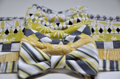 Bow ties for Grooms. Spoilt for choice. We like the yellow, second one back. What about you?  #Wedding #Bow #Tie