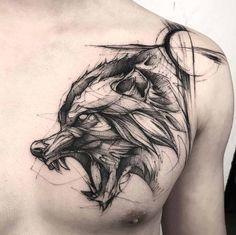 60 Amazing Wolf Tattoos - The Best You'll Ever See - Page 3 .- 60 Amazing Wolf Tattoos – The Best You'll Ever See – Page 3 of 6 A sketch style wolf by BK - Wolf Tattoo Design, Tattoo Design Drawings, Tattoo Sleeve Designs, Fenrir Tattoo, Norse Tattoo, Viking Tattoos, Hellhound Tattoo, Celtic Tattoos, Buddha Tattoos