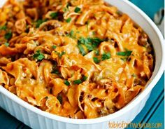 Enchilada Pasta Casserole is a Mexican casserole recipe with an Italian touch. Hhmmmm
