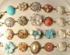 RESERVED Vintage  Bridal Bridesmaids Bracelets, 4 Ivory, Peach, Coral, Teal, Aqua Pearl & Rhinestone,  Gold Cluster Earring Bracelets Set 4