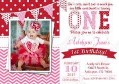 Valentines Birthday Invitation Valentine invitation One First Birthday girl PRINTABLE Invitation chevron polka dot birthday DIY 1st Birthday Party For Girls, Valentines Day Birthday, Birthday Diy, Birthday Ideas, Valentine Party, Birthday Parties, February Birthday, Kids Valentines, Husband Birthday