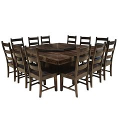 Modern Pioneer Solid Wood Lazy Susan Pedestal Dining Table Chair Set More Information