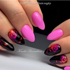 Black and pink nails, Fall nails trends, Nails for September 1, Nails ideas 2017, Painted nail designs, Rose nail art, September nails, Vivid nails