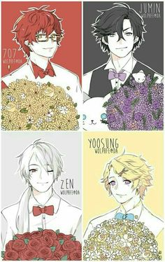 707, Jumin, Zen, Yoosung, cool, suits, outfits, flowers, text; Mystic Messenger