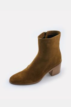 a8feb3fff0e2 Classic cognac sport suede ankle boot with 60mm stacked heel. Inside zip.  leather lining