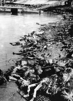 Dead Chinese piled on the shore of the Yangtze River, Nanjing, China, Dec 1937  Photographer	   	Murase Moriyasu