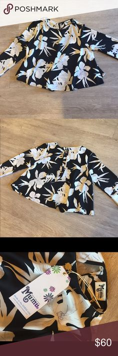 Lily Colins printed Show Me Your MuMu crop top Polyester black and white floral print Crop Top Show Me Your MuMu Tops Crop Tops