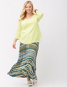 I LOVE a good maxi skirt | Striped knit maxi skirt from #Lane Bryant