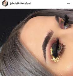 Glitter neutral make up glam look  cut crease