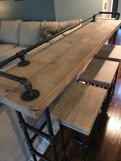 Rustic Gray Reclaimed Barn Wood Sofa Bar Table 6 Foot Etsy Family Room Design